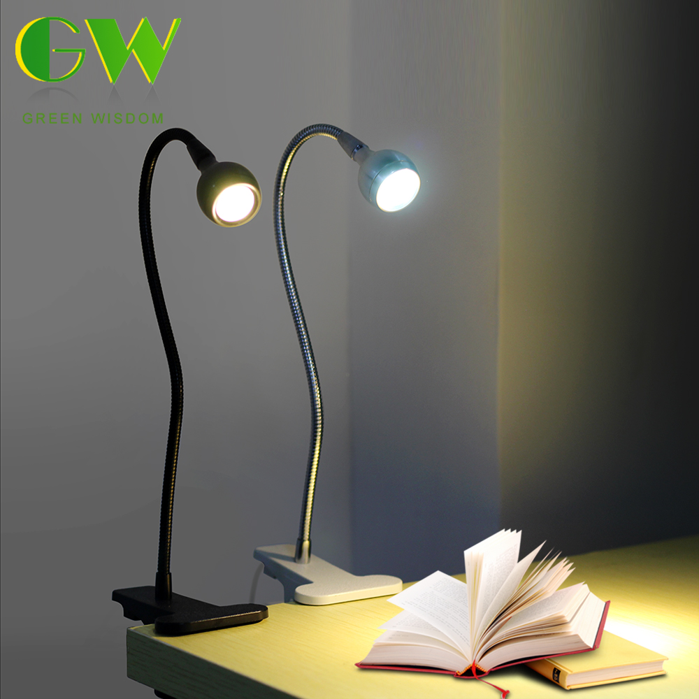 LED Desk Lamp Book Light USB Powered Clip Holder Flexible Bedside Reading Lights For Study Room Bedroom Travel USB Table Lamps