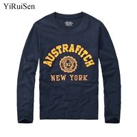 YiRuiSen Brand Autumn Clothing Mens Fashion Long Sleeve T Shirt 100 Cotton Letter Patchwork Design Soft