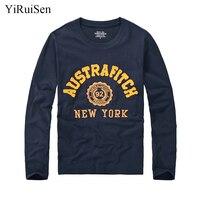 YiRuiSen Brand Autumn Clothing Mens Fashion Long Sleeve T Shirt 100 Cotton Letter Patchwork Design Soft