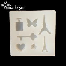 UV Resin Jewelry Liquid Silicone Mold Butterfly Key Heart Eiffel Tower Resin Molds For DIY Necklace Charms Making Jewelry