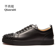 Qianruiti Autumn Spring Newest Men Rivet Flat Low Top Spike Sneakers Lace-up Runway Casual Shoes Male Daily Dress