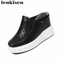 Lenkisen beauty cow leather round toe mules slip on super high bottom hollow simple classic leisure woman vulcanized shoes L80