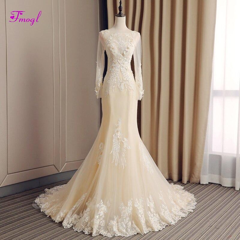 Fmogl Designer Scoop Neck Appliques Long Sleeve Mermaid Wedding Dress 2019 Delicate Beaded Trumpet Bridal Dress