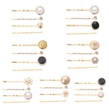 4Pcs/Set Minimalist Metal Alloy One Word Hairpins Women Girl Imitation Pearl Flower Hairgrip Side Bangs Hair Styling Accessories