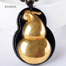 Fashionable gold-plated + natural black obsidian carving gourd pendant men and women crystal jewelry wholesale