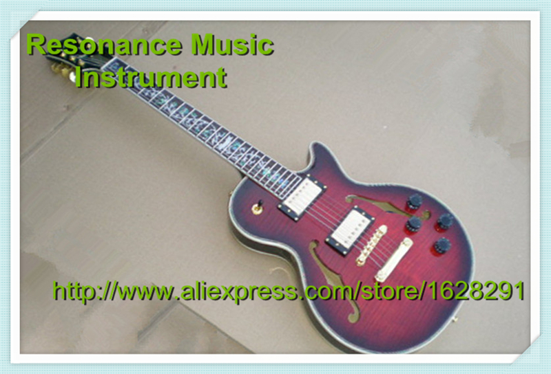 Top Selling Chinese Musical Instruments Vintage Brown Tiger Grain Top F Holes Hollow Body Custom Electric Guitar Lefty Available top selling chinese sg 400 electric guitar zebra stripe finish guitars body