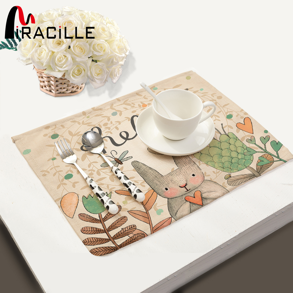 Sensible Flamingo Printed Cloth Placemats Coaster Tropic Plant Waterproof Table Mat Kitchen Accessories Decoration Home Dish Pad Mat Cup Tablecloths Home Textile