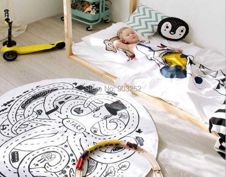 INS скандинавский белый и желтый Осьминог узор Круглый ковер детская игрушка ползающий коврик комнаты украшения