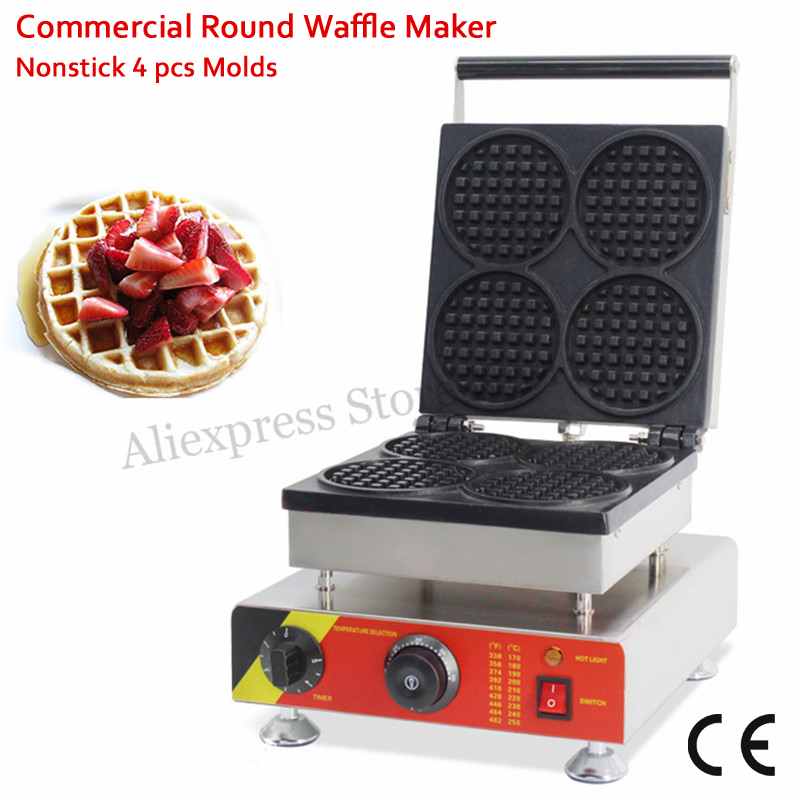 Electric Round Waffle Machine 4 Moulds Stainless Steel 110V 220V 1500W for Restaurant Snack Street cukyi household electric multi function cooker 220v stainless steel colorful stew cook steam machine 5 in 1