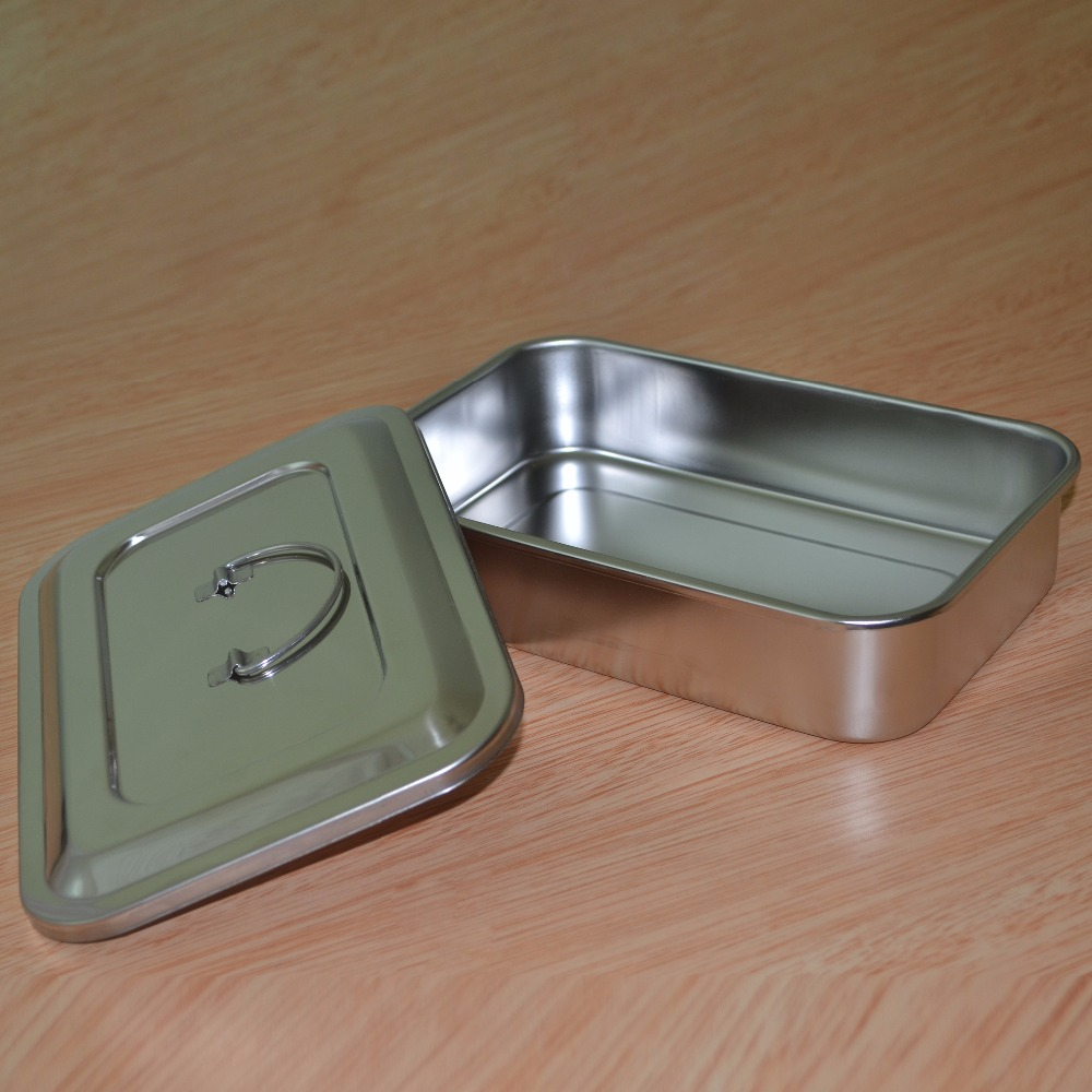 3Pcs Stainless steel medical disinfection box with cover plates without hole sterilizer  + 1 pc of medical clipper 9 inch keller charles melamine appetizer plates box of 6