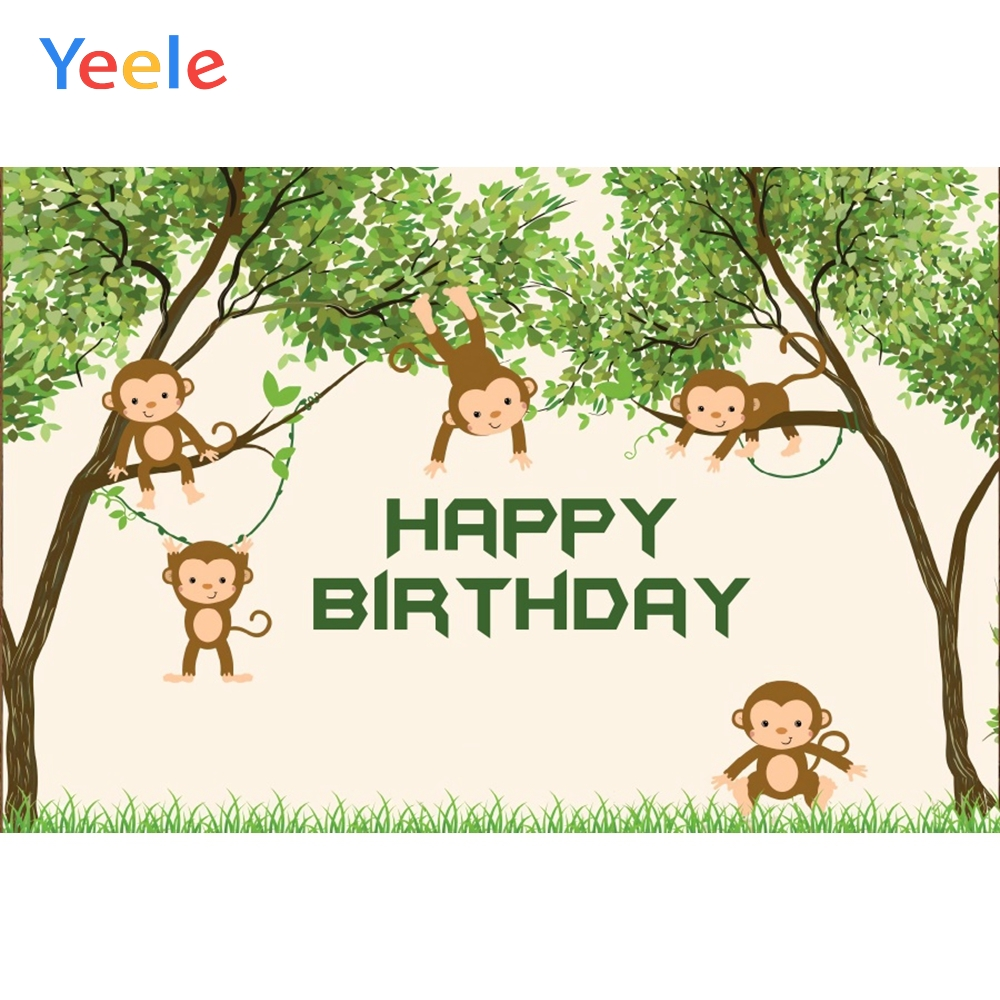 Yeele Birthday Backdrop Monkey Forest Tree Lawn Jungle Party Baby Photography Background Photographic Backdrops for Photo Studio