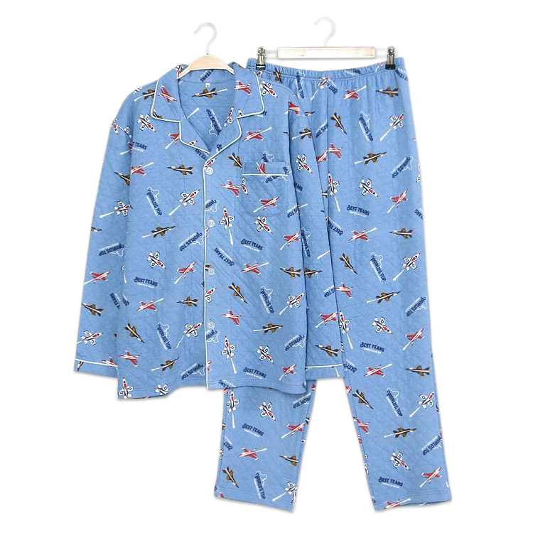 Fashion Cute Warplane Family Pajamas Sets Men Father And Son Winter 100% Cotton Quilted Warm Cartoon Long-sleeved Child Homewear