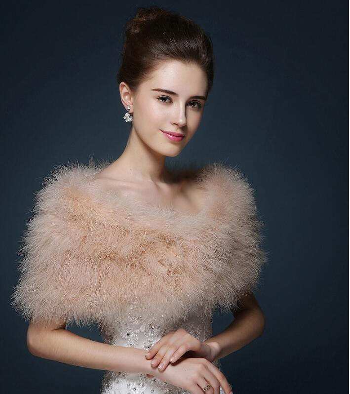 Wedding Fur Cape Luxurious Ostrich Feathers Camel Fur Boleros Wedding Bride White Ivory Shrug Bridal Party Shawls Bolero  S124