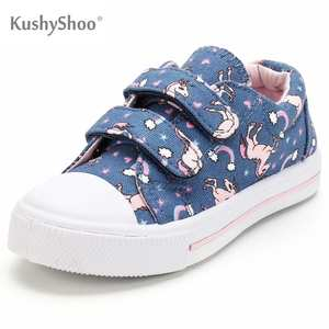 Kushyshoo Toddler Sneakers Shoes Unicorn Canvas Girl Casual Cute Dual-Buckle-Strap