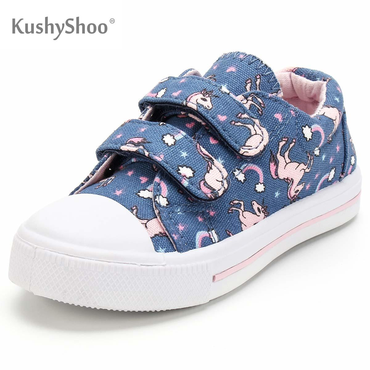 KushyShoo Kids Shoes Toddler Sneakers Unicorn Dual Buckle Strap Cute Boy Shoes Children Sneakers Girl Casual Canvas Shoes