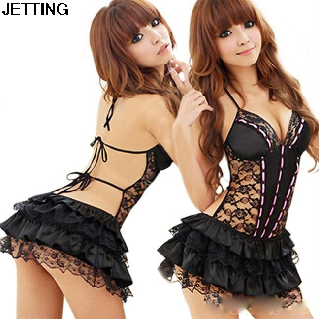 Lady Women Sexy Costumes Sexy Lingerie Hot Dress Underwear Backless Lace Set Erotic Lingerie+G-string Black Color