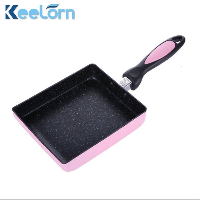 Keelorn 15*18CM Square Frying Pan Non-stick Japanese-style Thick-eared Frying Pan Medical Stone Pot Gerneral Use For Gas