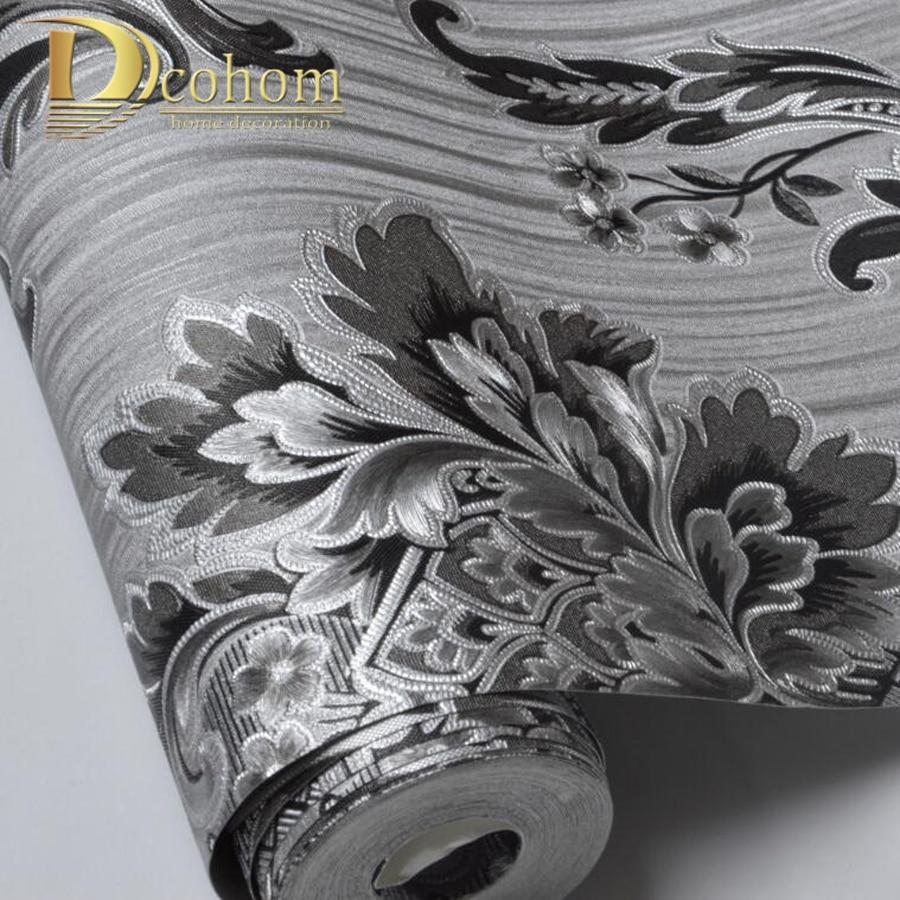 Good quality modern 3D Damask wallpaper For Walls vinyl PVC glitter wallpaper papel tapiz de pared Of Living Room Grey Black battlefield 3 или modern warfare 3 что