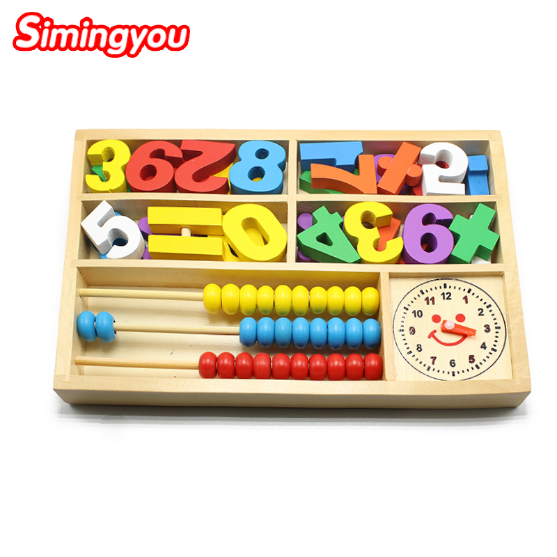 Simingyou Wooden Montessori toys digital abacus alarm clock educational toys for children wooden blocks kids toys