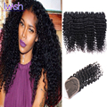 Indian Virgin Hair 4 Bundles With Closure Indian Deep Curly With Closure Raw Virgin Indian Hair Unprocessed Remy Human Hair