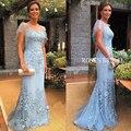 Azul de Encaje Vestido de Noche Robe De Soirée Courte 2016 Applique de La Sirena Elegante Largo Últimos Diseños Del Vestido de Noche Oscar Vestidos Formales