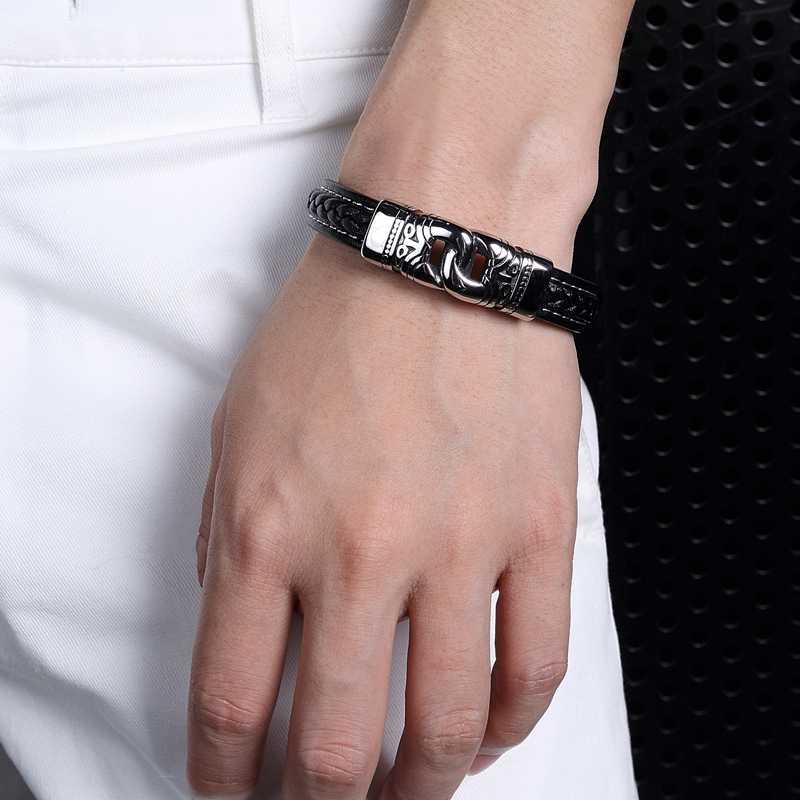 TrustyLan панк-рок, украшения Черный Плетеная кожа браслет мужской магнитный браслет со стальными элементами Модные мужские s ручной браслет-повязка