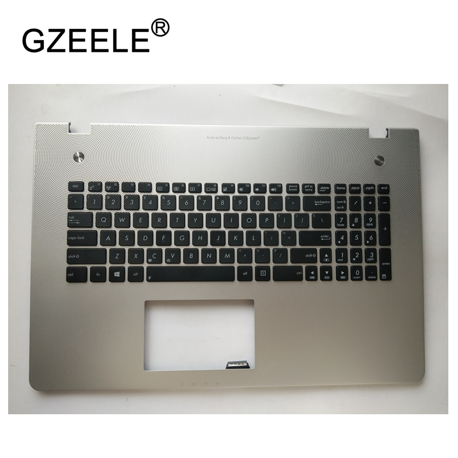 GZEELE US Layout Keyboard for Asus N76 N76VB N76VJ N76VM N76VZ black with silver topcase Laptop palmrest upper case KB bezel with 4gb video card gt650m n76vz motherboard for asus n76vz n76v n76vm n76vj n76vb laptop mainboard n76vz motherboard test ok