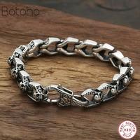 Sterling silver 925 men bracelets Men's Skull Bracelet Lucky Safety Bracelet Vintage skull chain bracelet jewelry birthday gift