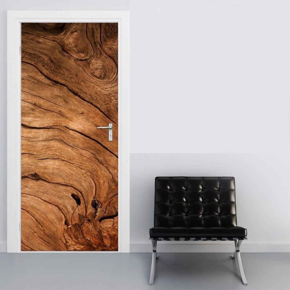 Us 21 38 35 Off Free Shipping Wooden Wave Design Remove Door Sticker For Bedroom Living Room Gift Art Pvc Waterproof Decal Door Wrap 77 200cm In