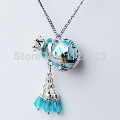 Free shipping!!1pcs Aromatherapy diffuser necklace( Cambridge blue),Murano perfume bottle necklace,Essential oil bottle necklace