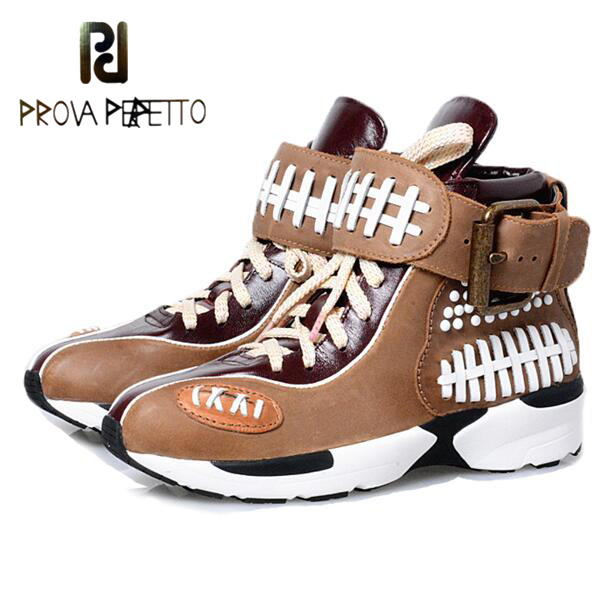 Prova Perfetto New Arrival Lace Up Casual Shoes Buckle Mixed Color Genuine Leather Breathable Euramerican Fashion Women Shoes genuine leather baby shoes lace up toddler baby moccasins mixed colors boys shoes first walkers free shipping