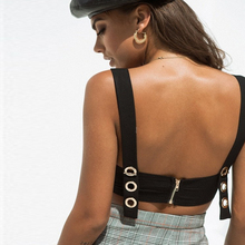 Womens Sexy Slim Short Top Zipper Rivets Sleeveless Black Camisole Blusas Female Clubwear Backless Tank Top Summer Ladies Shirts stylish zipper decoration slim tank top