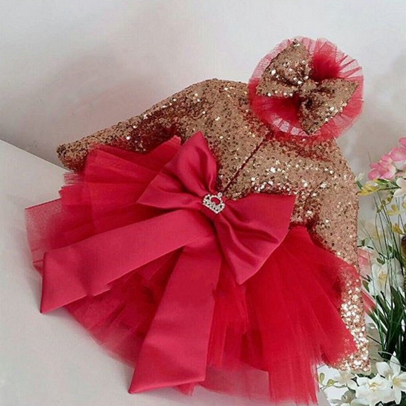 Children Pageant   Dresses   Red Cute vestido daminha Tulle   Flower     Girl     Dress   Sleeves Bow Sequins Handmade   Girls   Communion   Dresses