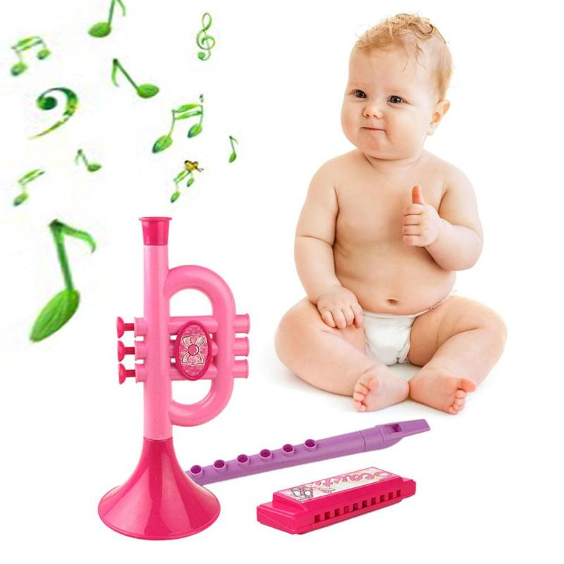 3pcs/set Baby Beauty Musical Instruments Trumpet Band Kids Hand Holding Trumpet Musical Instruments Educational Toys Gifts