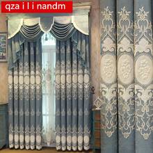European and American style Luxury blue embroidery blackout curtains for living room classic bedroom