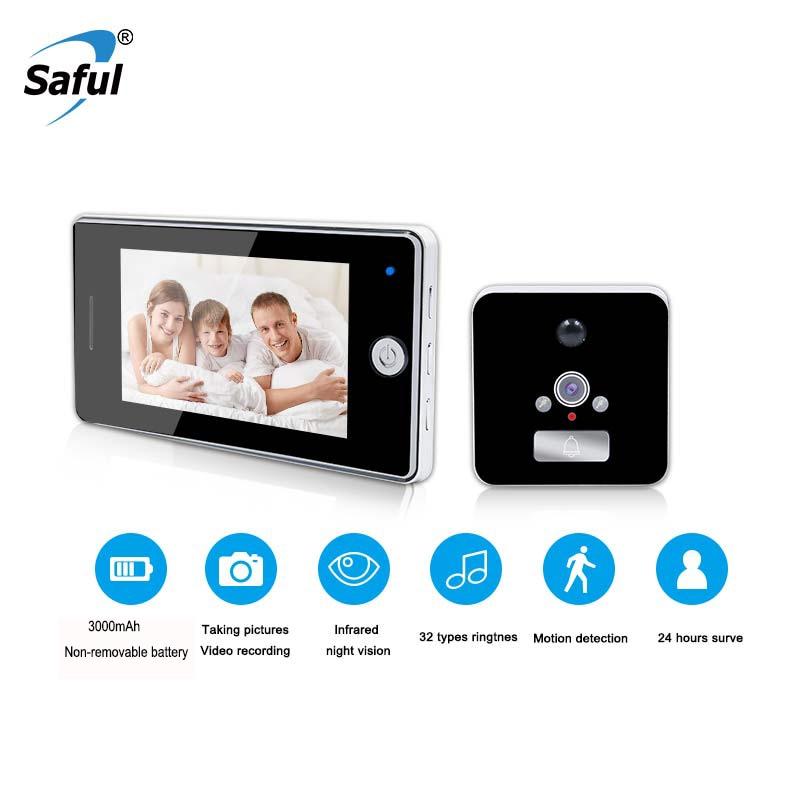 Saful Wireless Door Viewer Camera 32 Ringtons Infrared Night Vision Photo Taking Video Recording No Disturbing Monitor Doorbell door wireless with monitor