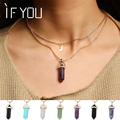 IF YOU Fashion Multi Color Natural Stone Quartz Pendants Necklace For Women New Lovers Gift Brincos Charms Necklace Jewelry
