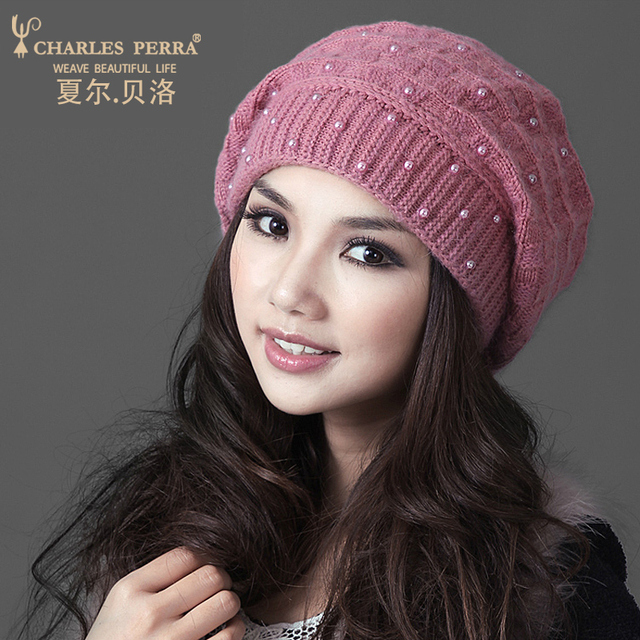 Charles Perra Brand Women Hats Winter Thicken Double Layer Rabbit Hair  Knitted Hat Elegant Casual Wool Cap Female Beanies 22305 2030ff2e602
