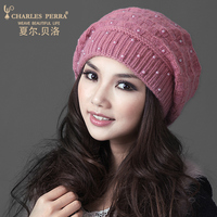 Charles Perra Brand Women Hats Winter Thicken Double Layer Rabbit Hair Knitted Hat Elegant Casual Wool Cap Female Beanies 22305