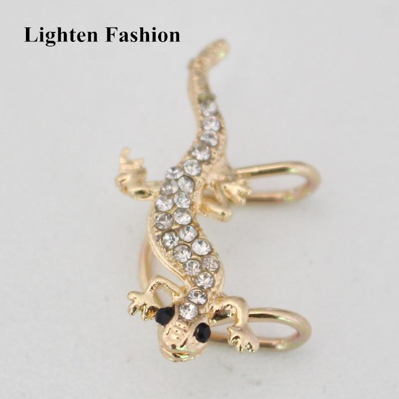 1pc for left ear Women Cute Rhinestone Lizard Ear Cuff Personality Exaggerated Funny Animal Clip Earrings Jewelry