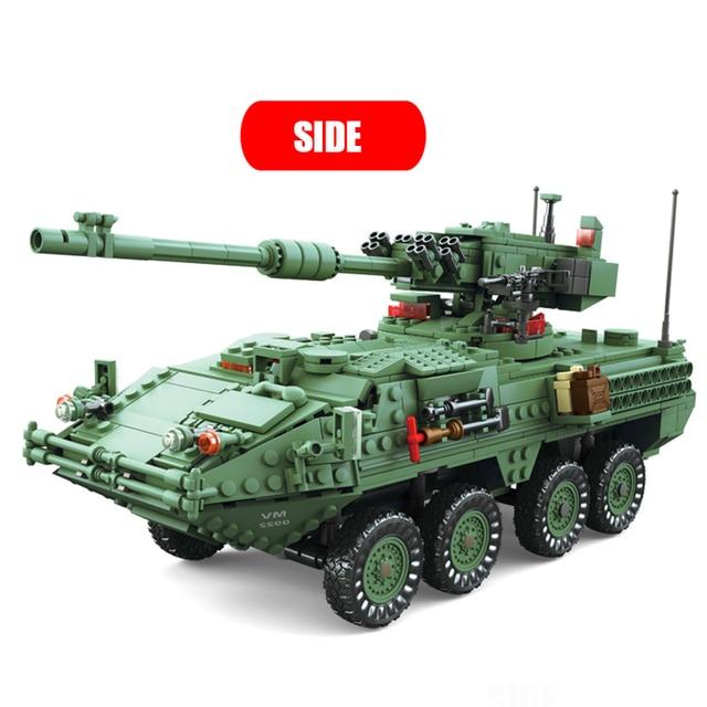 KAZI 10001 Century Military Technic weapon MGS-M1128 TANKS Building blocks set Armored vehicles DIY Bricks Toys for Children 2
