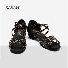 Сасан сатин PU Низкая с мягкая подошва из металла Туфли с ремешком и пряжкой для девочек Обувь для танцев Детская Туфли для латинских танцев для девочек Обувь для танцев S-5555