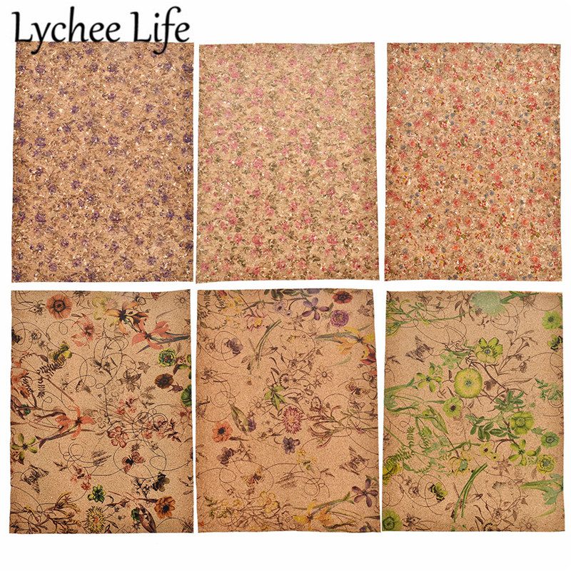 Lychee Life A4 Soft Cork Fabric 29x21cm Colorful Floral Printed Fabric DIY Handmade Modern Home Sewing Clothes Textile Supplies
