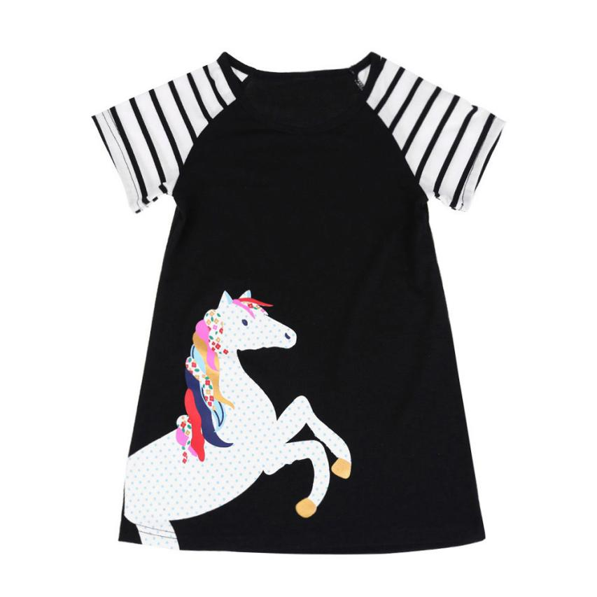2018 baby dresses summer o-neck Cotton Knee-Length Short Sleeve Horse Printing Party Dress Outfits Clothes 4.23
