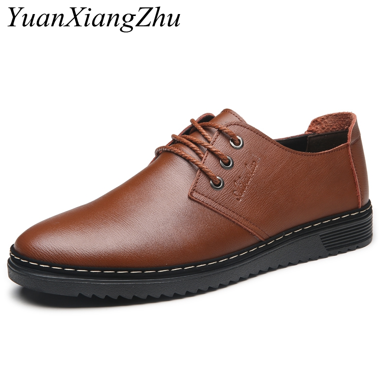 Genuine Leather Shoes Men Brand Footwear Non-slip Fashion Men's Casual Shoes Male High Quality Simple Stylish Oxford Men Shoes spring autumn quality genuine leather casual sneakers men shoes male walking brand comfortable non slip footwear 2018