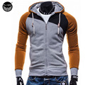 2016 Hoodies Men Sudaderas Hombre Hip Hop Mens Brand Leisure Zipper Jacket Hoodie Sweatshirt Suit Slim Fit Men Hoody XXL