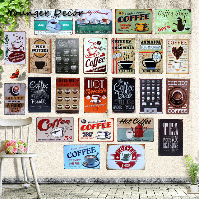 Cafe Coffee Menu Decor Tea For All Reasons Metal Signs Vintage Home Decorative Bar Hotel