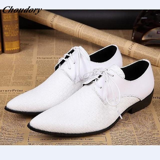 Choudory White Black Handmade Splite Leather Mens Designer Dress