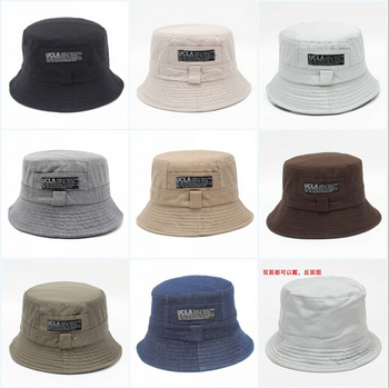 Free shipping!2016 New men and women hat UCLA travel bucket for spring and summer hat Denim color double face to wear pur cotton