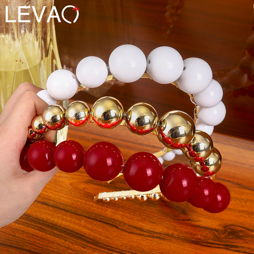 Levao White/Gold/White Pearl Beads Hairband Headband For Women Hair Hoop Bands Beaded Headbands Bezel Girls Hair Accessories
